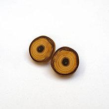 Náušnice - Drevené naušnice klipsňové - agátové rezy - 13106140_