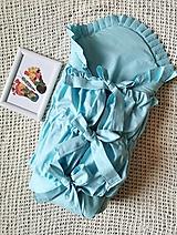 Textil - Modrá perinka s vyšívaným volánikom - 13110578_