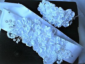 Opasky - Kvetinový opasok s čelenkou - 13111922_