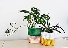 Košíky - Dvojfarebný pletený košík/kvetináč - 13109075_
