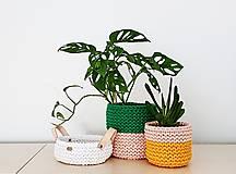 Košíky - Dvojfarebný pletený košík/kvetináč - 13109077_
