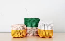 Košíky - Dvojfarebný pletený košík/kvetináč - 13109078_