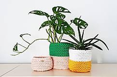 Košíky - Dvojfarebný pletený košík/kvetináč - 13109080_