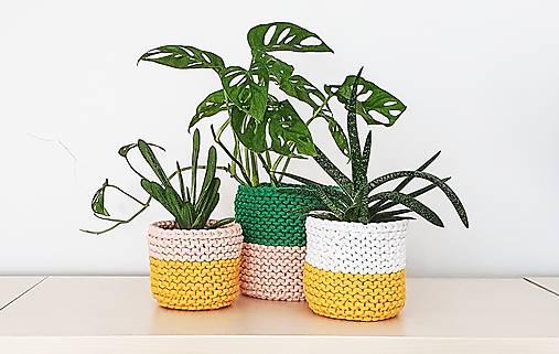Dvojfarebný pletený košík/kvetináč