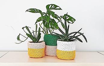 Košíky - Dvojfarebný pletený košík/kvetináč - 13109073_