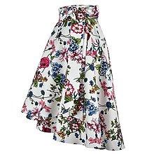Sukne - ANNA - elegantná asymetrická zavinovacia sukňa (kvetinová biela) - 13111981_