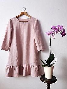 Šaty - Ľanové mini šatičky - ružové - 13110947_