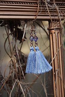 Náušnice - Malé strapcové violetky - 13111787_