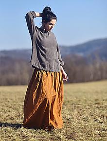 Sukne - Maxi sukně lněná okrová - 13112284_