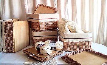 Košíky - Košíky s poklopom orechové / ks - 13109552_