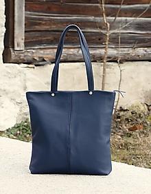 "Kabelky - VERA ""Minimal"" modrá kožená kabelka - 13111348_"