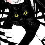 Grafika - Černá kočka - umělecký tisk - 13113998_