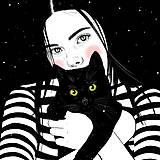 Grafika - Černá kočka - umělecký tisk - 13113999_