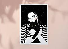 Grafika - Černá kočka - umělecký tisk - 13114000_