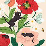 Grafika - Koťata - umělecký tisk - 13114035_