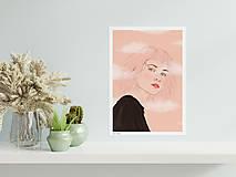 Grafika - Hlava v oblacích - umělecký tisk - 13114056_