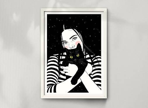 Černá kočka - umělecký tisk