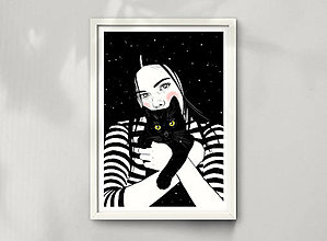 Grafika - Černá kočka - umělecký tisk - 13113997_