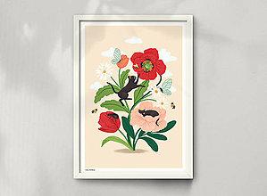 Grafika - Koťata - umělecký tisk - 13114034_