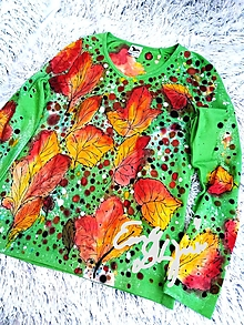 Tričká - Listy - ručne maľované tričko - 13115879_