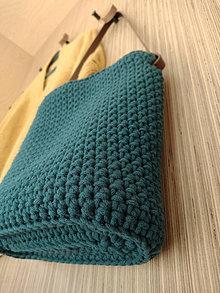 Kabelky - Kabelka Runa s háčkovaným dnom (peacock blue) - 13114692_