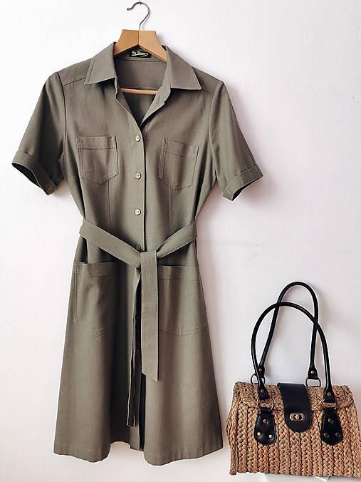 Šaty - Ľanové safari šaty - 13113034_