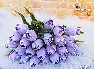 Dekorácie - Tulipán pastelový fialový 38cm - 13116526_