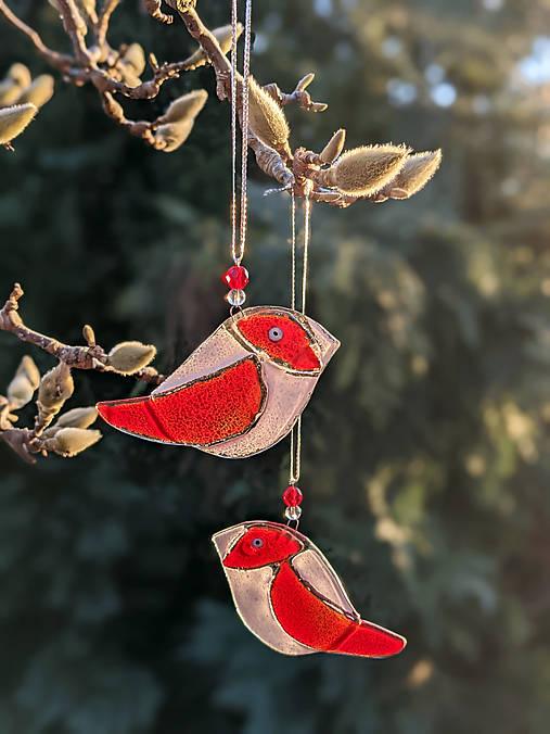 Dekorácie - Dvojica červených vtáčikov - 13115963_