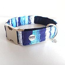 Pre zvieratká - Obojek - Pruhy modrý - kovová spona - 13113285_