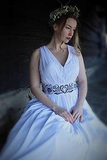 Šaty - Svadobné šaty s maľovaným opaskom - 13116552_