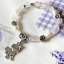 Náramky - Moonstone & Rose Quartz Dog Elastic Bracelet / Elastický náramok so psíkom - 13119443_