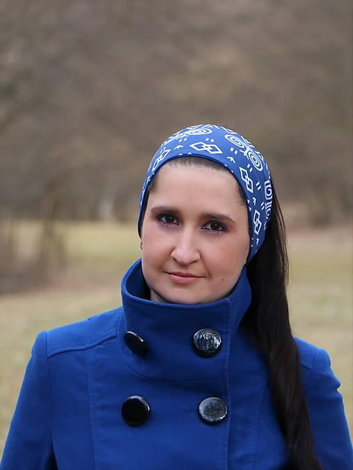 Úpletová čelenka Čičmany modré