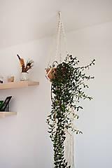 """Dekorácie - makramé záves na kvetináč """"pure"""" natural biely (variant 1) - 13119224_"""