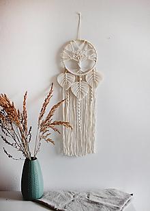 """Dekorácie - makramé lapač snov """"strom života"""" (natural biela) - 13118040_"""