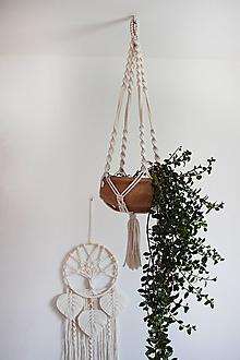 """Dekorácie - makramé záves na kvetináč """"pure"""" natural biely (variant 1) - 13119225_"""