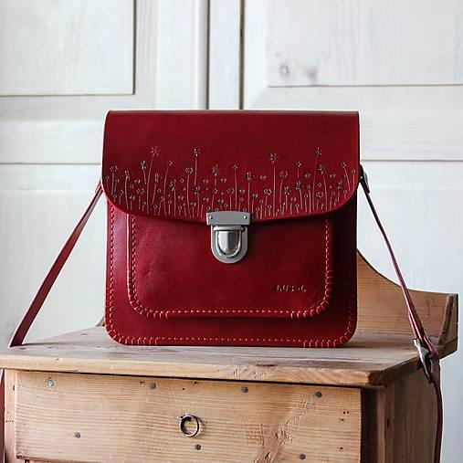 Kabelky - Kožená kabelka Floral satchel *Antique Red* - 13117554_