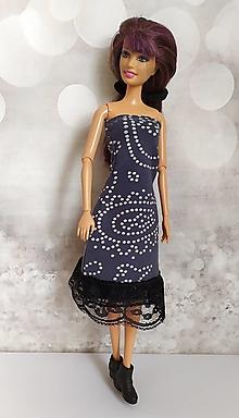 Hračky - Tmavomodré pružné šaty pre Barbie - 13118103_
