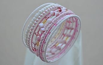 Náramky - Náramok bielo ružové pyramídky - 13120295_
