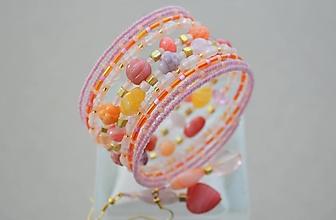 Sady šperkov - Náramok koralové kúsky s náušničkami - 13120522_