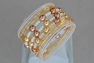 Náramky - Náramok zlaté perličky - 13120833_