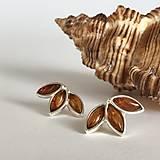 Náušnice - Náušnice Listy - stříbro a jantar - 13117114_