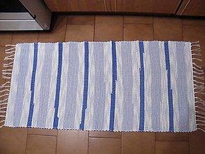 Úžitkový textil - Tkaný koberec modro-biely - 13121867_