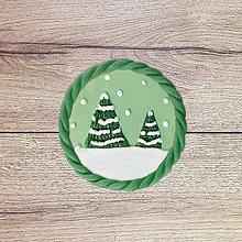 Magnetky - Nasnežilo - zimná magnetka (stromčeky) - 13122193_