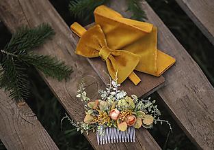 Ozdoby do vlasov - žltý kvetinový hrebienok do vlasov - 13126343_