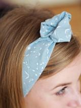 Šatky - Šatka do vlasov - modrá so vzormi - 13127332_