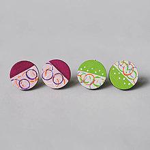 Náušnice - farebné kruhy ~ napichovačky (magenta) - 13125906_