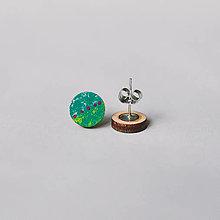 Náušnice - mini ďobky ~ napichovačky (zelené) - 13126088_