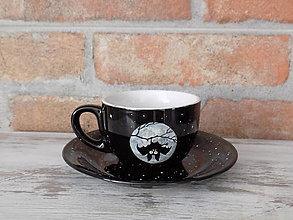 Nádoby - Čierna šálka s podšálkou - Hanging Bat - 13123754_