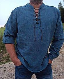 Oblečenie - Ľanová košeľa - šnurovačka - 13122848_