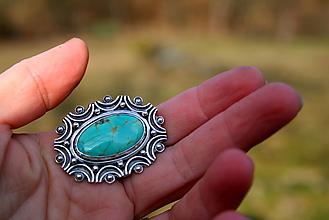Prstene - Strieborný prsteň s arizonským tyrkysom - 13125225_